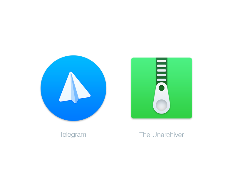 Mac Replacement Icons: Telegram & The Unarchiver by Benedikt Imminger