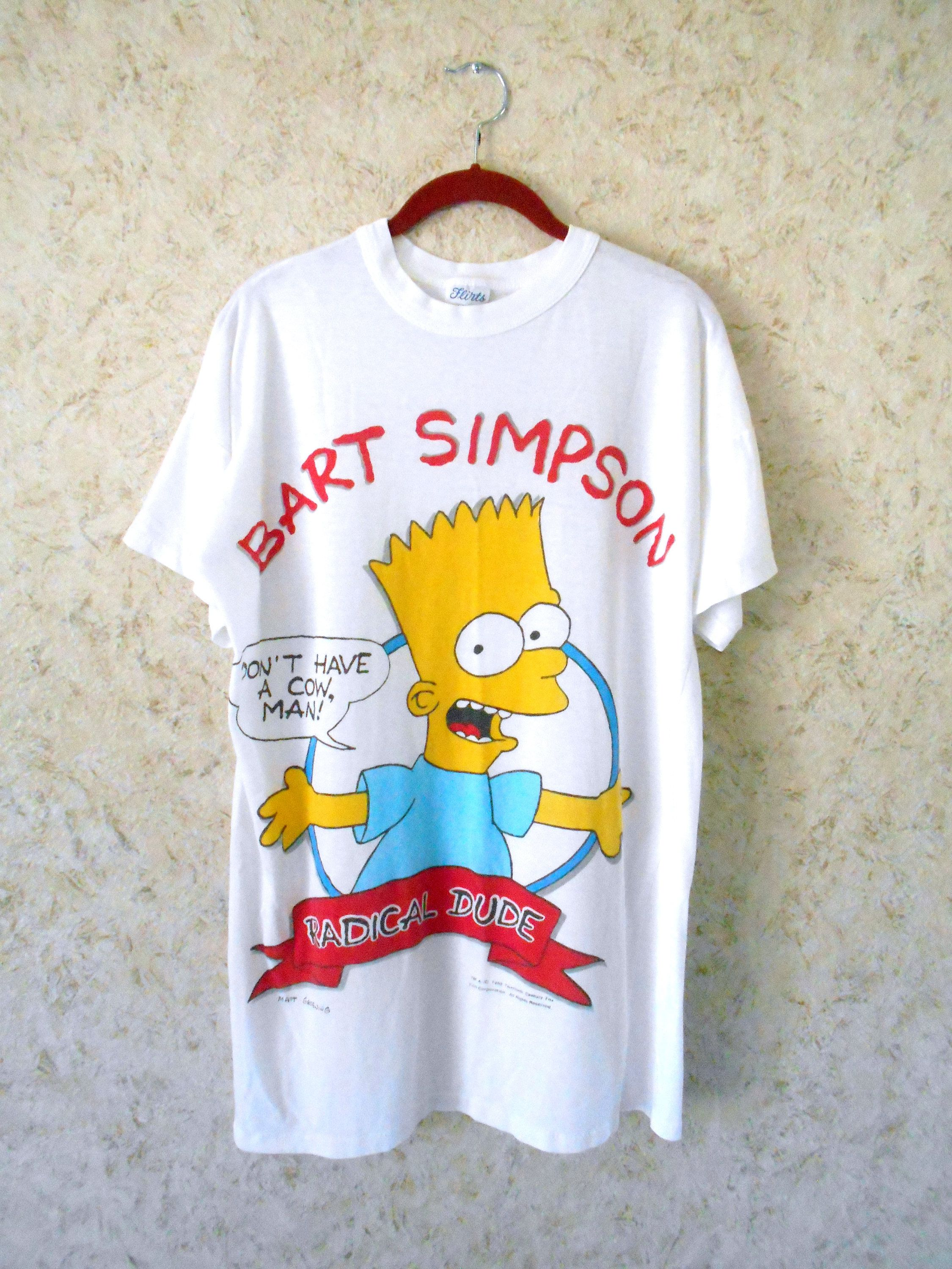 fc5e4b3b0 Vintage 90s Bart Simpson Rare Night Sleep Shirt Tee Radical Dude Dont Have  A Cow Novelty Graphic Tee 1990 Oversized One Size by CoolDogVintage on Etsy