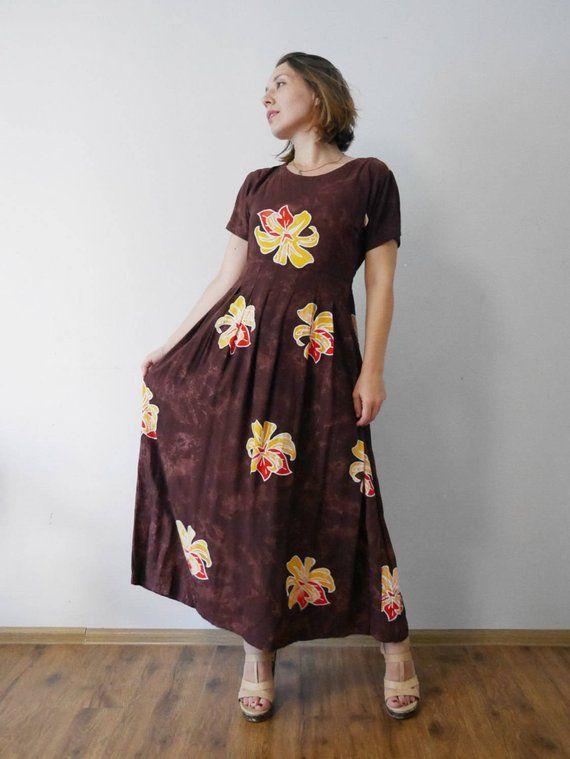 053d92805e61 50% Sale Mahogany Maxi Dress Lily Print Batik print t Long rayon dress  Short sleeves Summer dress