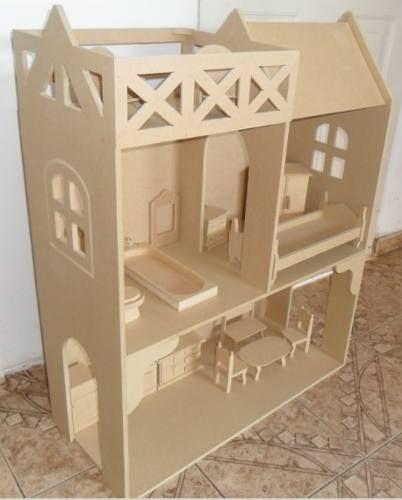 Casa De Muñecas Barbie Casitas Fibrofacil Lista Para Pintar Casa De Muñecas Casas De Muñecas Casa De Muñecas Barbie