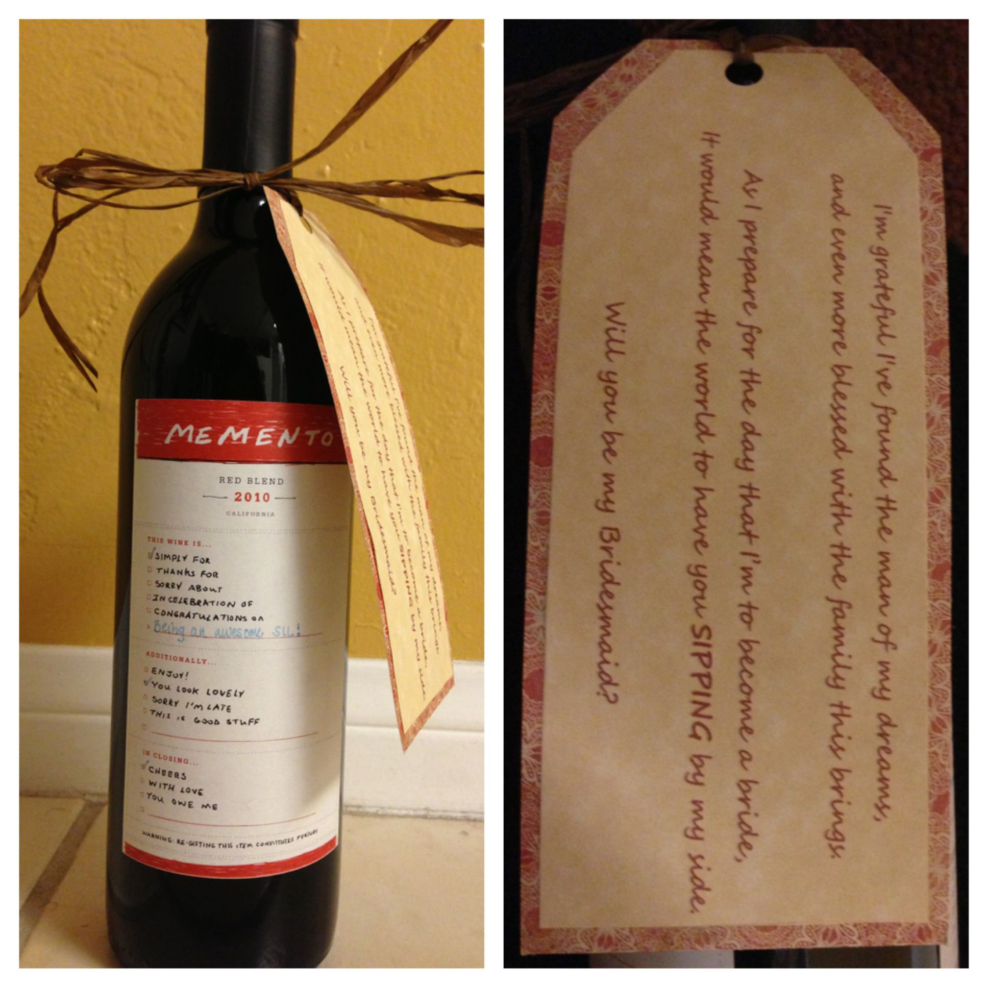 wine wedding shower gift poem%0A This poem is for future sister in law but you can change it for each girl   I found this cute wine at Trader Joes