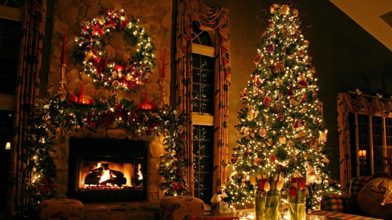 Fireplace Christmas Decorations Part - 47: Download Wallpaper 1366x768 Christmas Tree, Ornaments, Fireplace, Christmas  Decorations, Flowers, Home