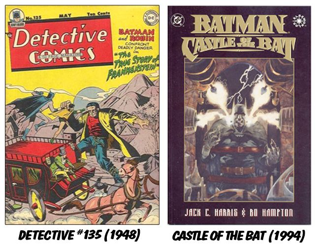 """Batman returned the favor in """"The True Story of Frankenstein"""" and also in """"Castle of the Bat,"""" an Elseworlds story mixing Batman with Frankenstein."""