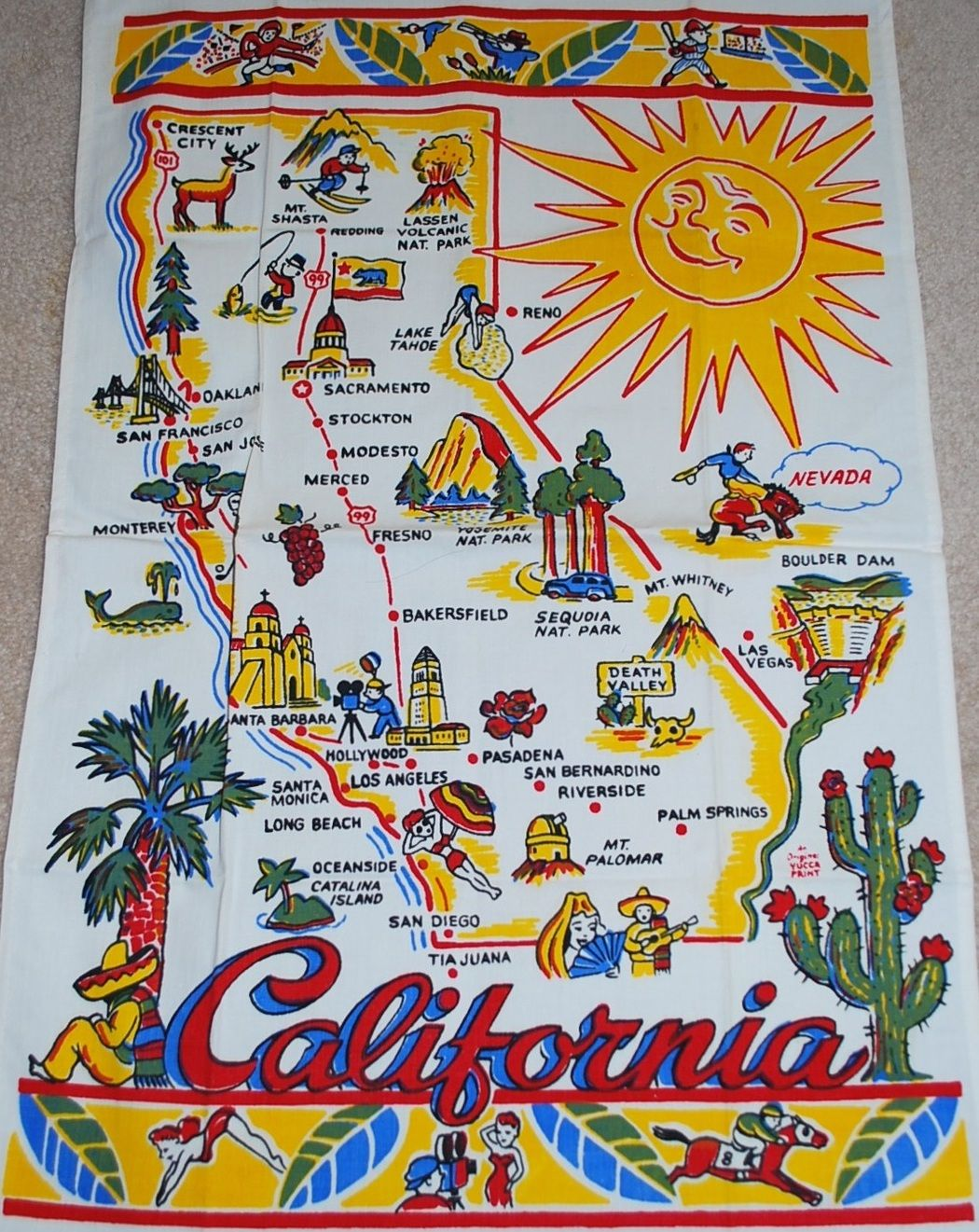 Vintage California Souvenir Kitchen Towel Los Angeles San - Los angeles map vintage