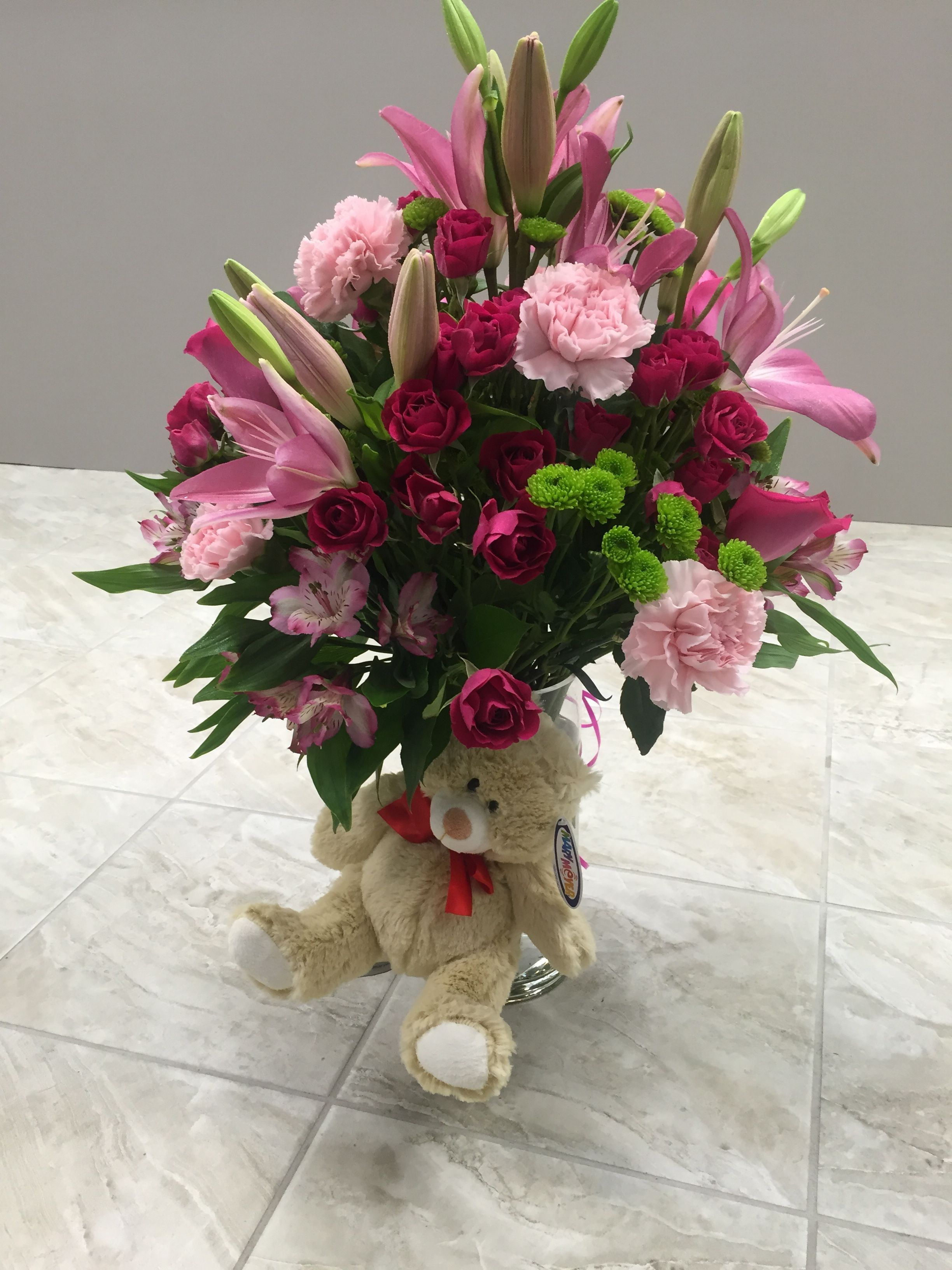 Birthday Flowers And Teddy Bear Present Flower Power Flowers For