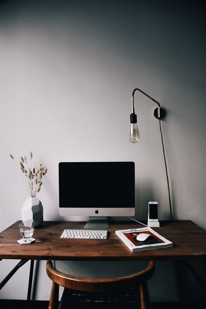 Simple workspace - small desk makes a home office Bedroom ideas