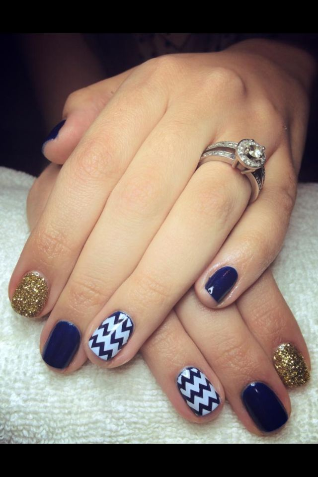 chevron navy blue white and gold