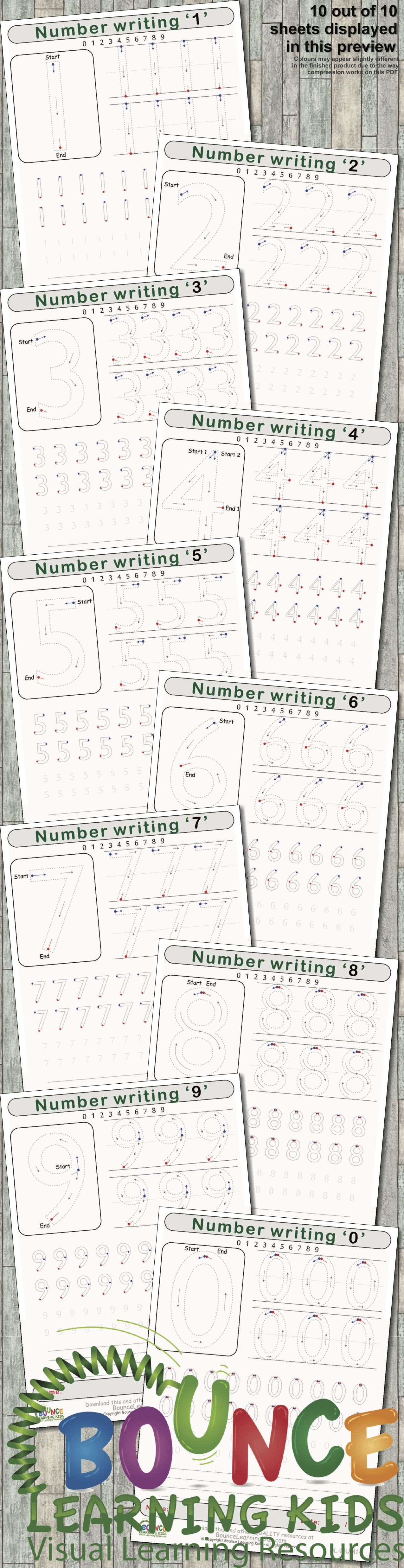 Writing Numbers 10 Literacy Amp Hand Eye Coordination Sheets