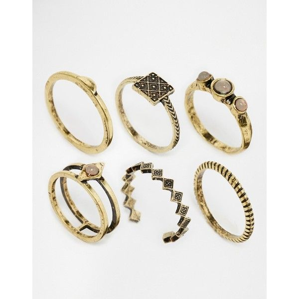 ASOS Desert Stone Ring Pack 21 AUD liked on Polyvore