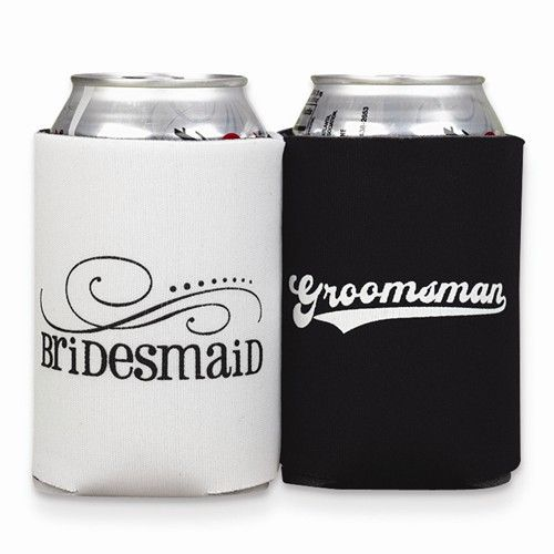 Bridesmaid & Groomsmen Can Coolers - Available for order at Oaks Jewelers
