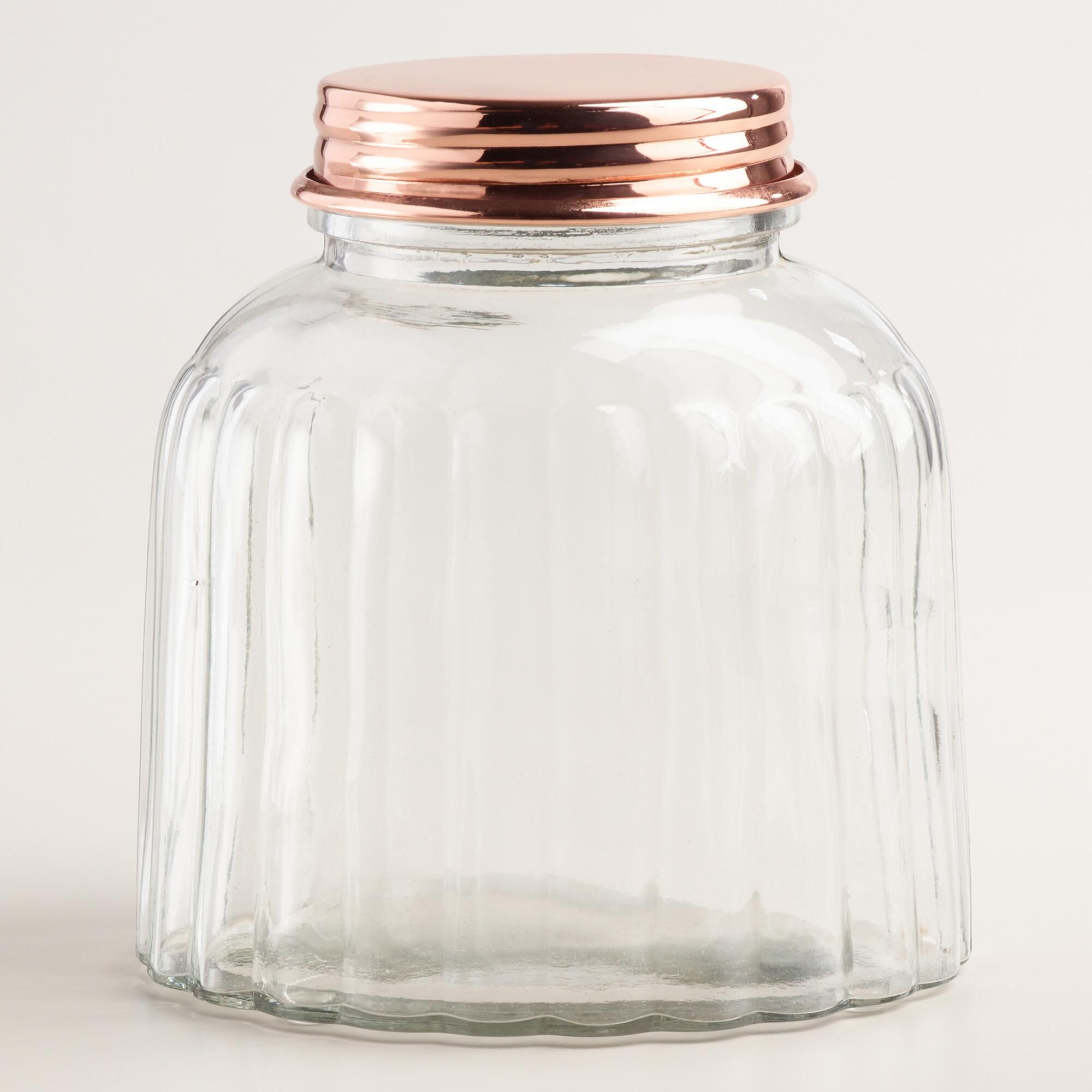 decorative glass jars for kitchen napkins with a vintage inspired ribbed texture and warm copper