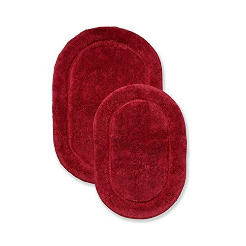 Superior Non Slip Bath Rug 2 Pack Ultra Plush Soft And Absorbent 100 Combed Cotton Pile Traditional Oval Bath Mat Set Burgundy Bath Rugs Rugs Bath Mat Sets