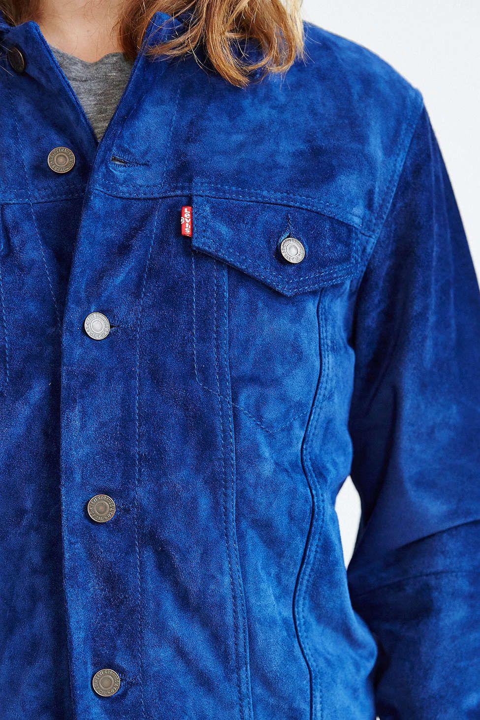 Levi S Cobalt Suede Trucker Jacket Men S Outerwear