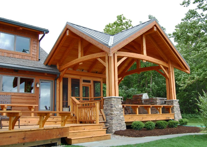 Great Timberframe Patio Three Season Screened Porch Behind