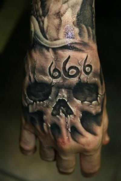 14680 Skull 666 Large Jpg 400 600 Skull Hand Tattoo Evil Tattoos Hand Tattoos For Guys