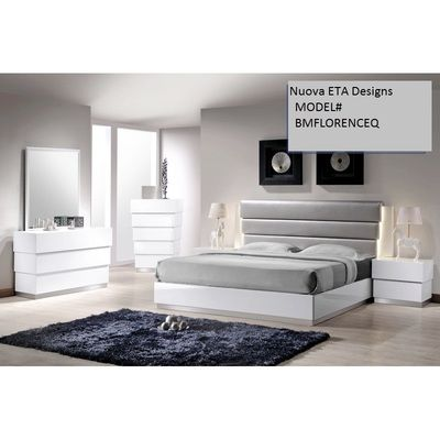 Queen Size Modern Bed White W Grey Color Headboard And Led Lighting White Bedroom Set Modern Guest Bedroom Bedroom Sets