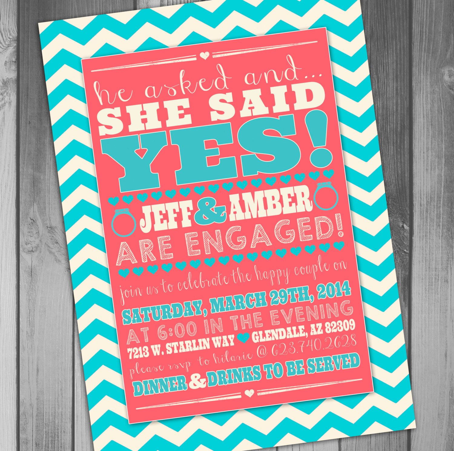 Engagement Party Invitation Printable Engagement by CLaceyDesign ...