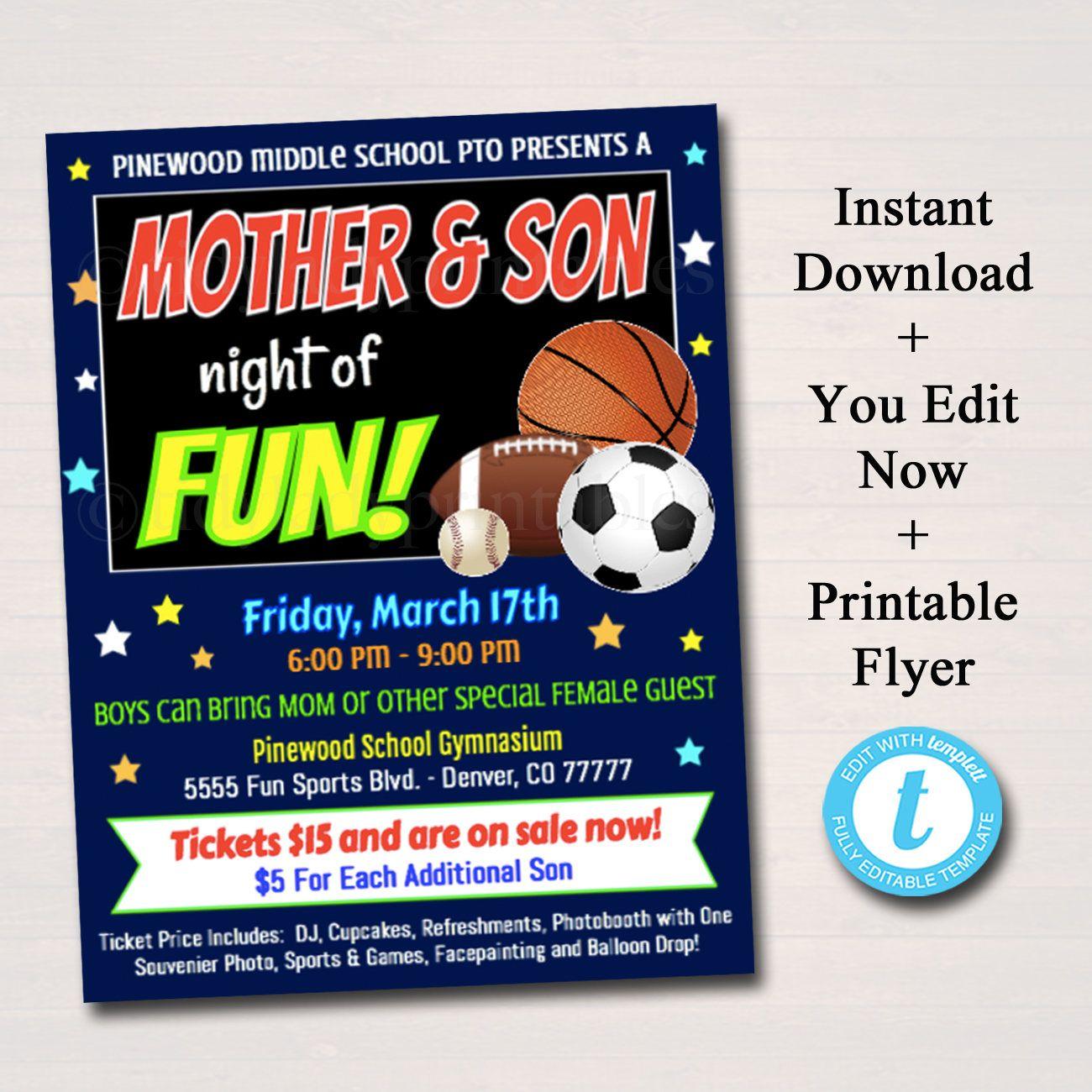 Editable Mother Son School Dance Set Dance Flyer Party Sports
