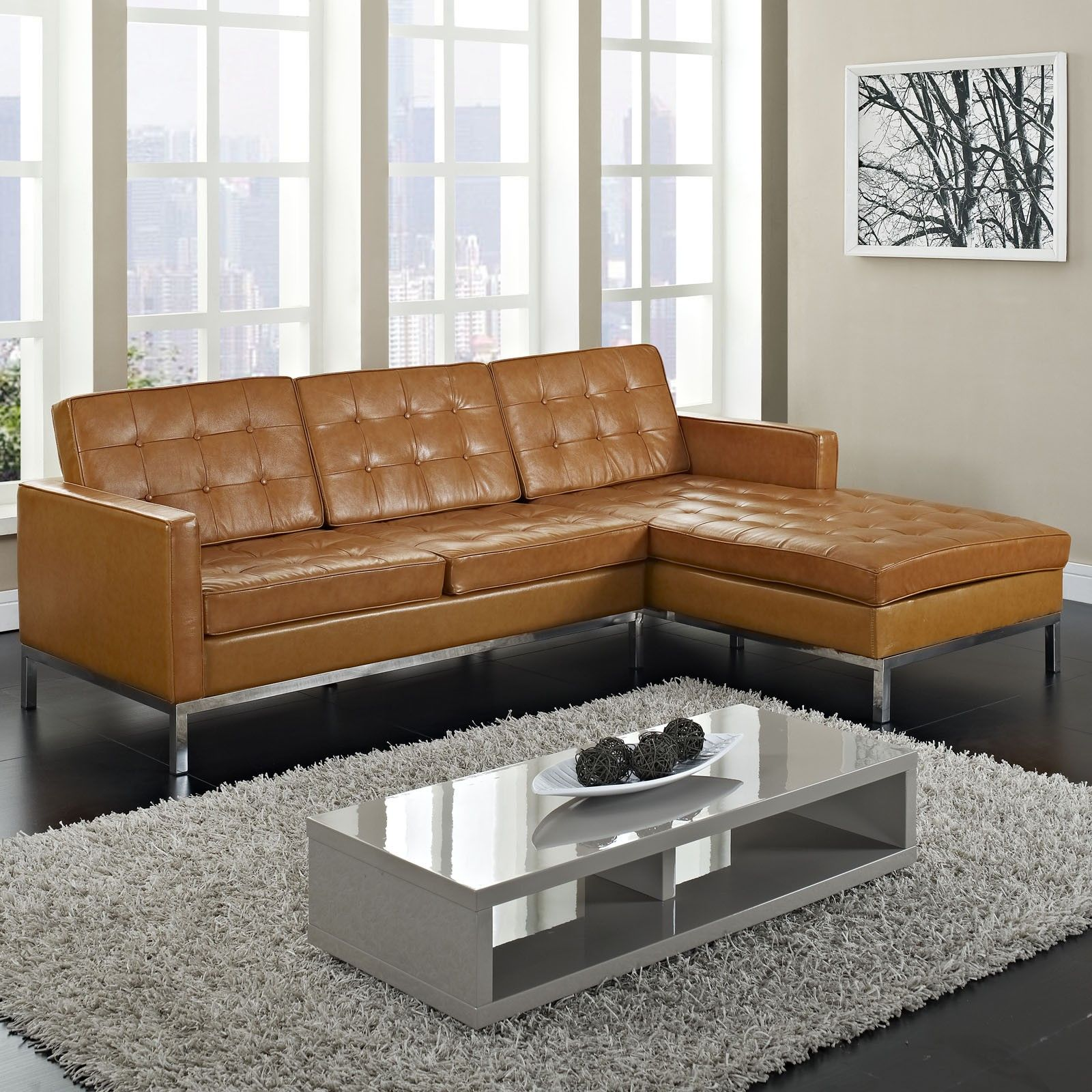 Furniture maximizing small living room spaces with 3 piece brown leather tufted sectional sofa with