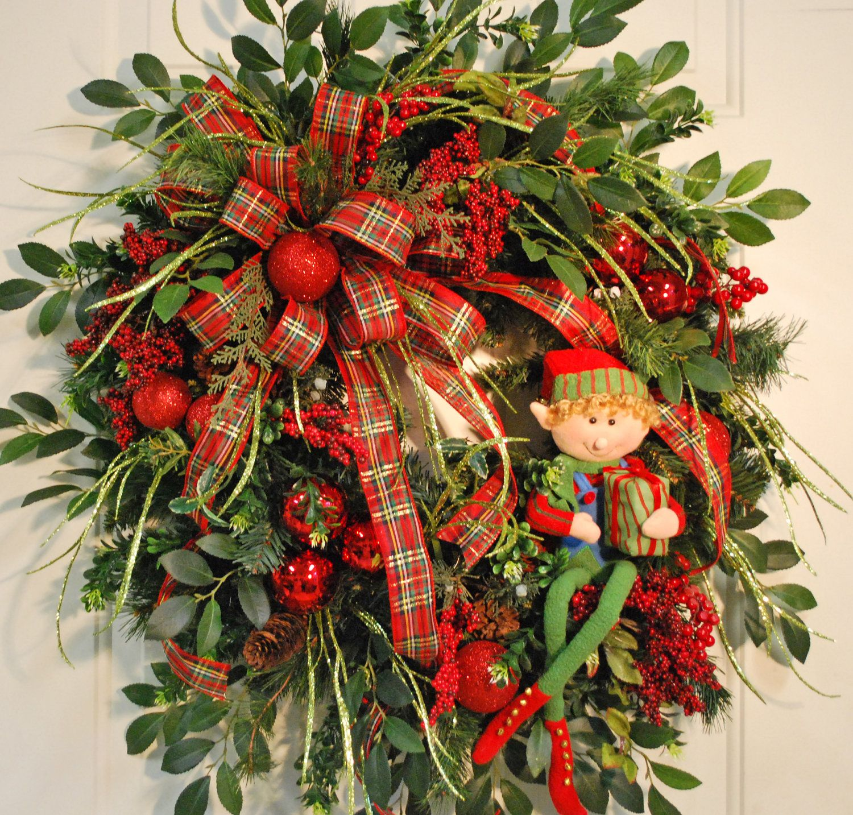exterior door wreaths | XL Holiday Christmas Elf Front Door Wreath by LadybugWreaths