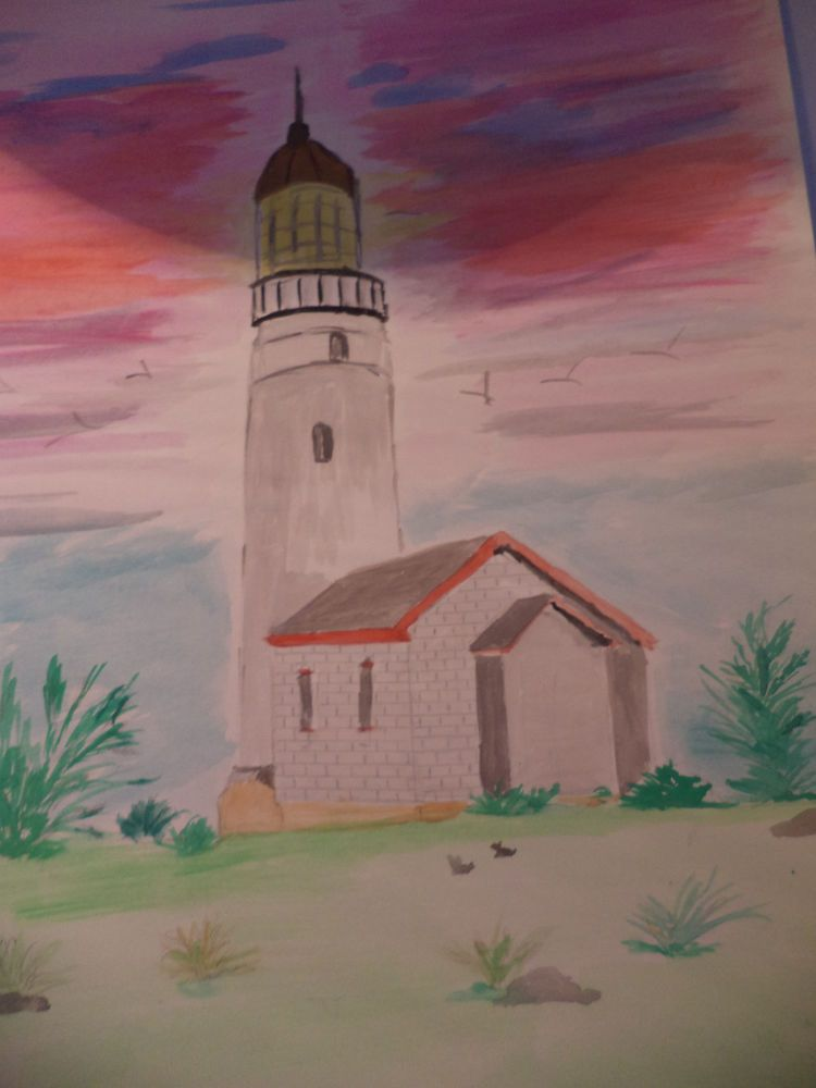 Lighthouse At Sunset Watercolor Painting #Art #Sale