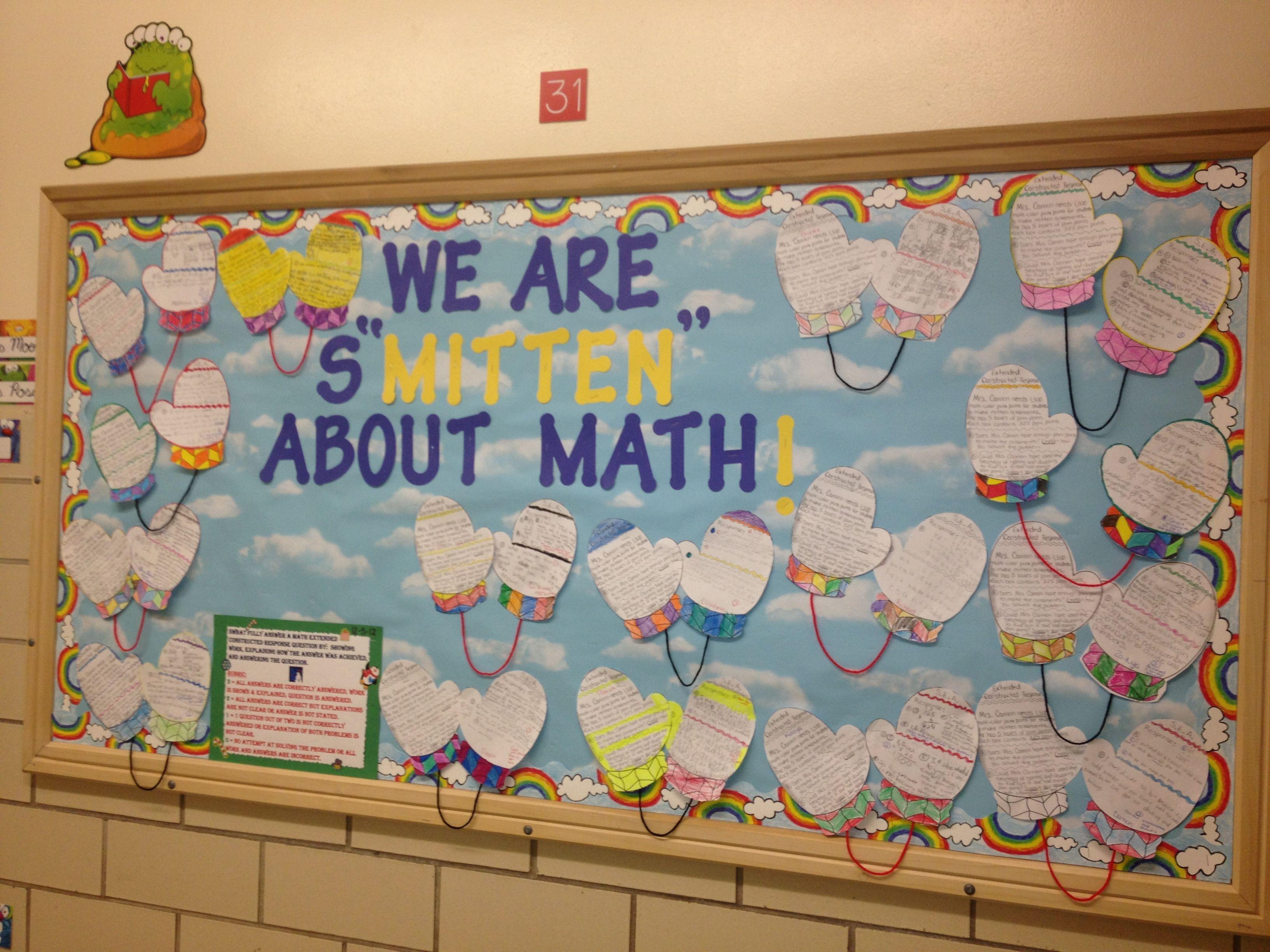 Winter bulletin boards ideas pinterest - Math Bulletin Board We Are S Mitten About Math Here