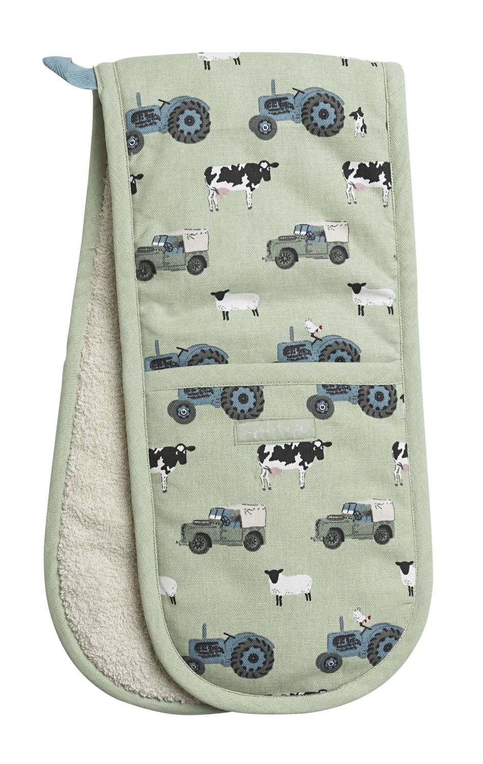 Double Oven Glove - 'On The Farm'. Protect your hands from hot pans with this lovely pair of heat resistant Double Oven Gloves in our green 'On The Farm' design.  The Double Oven Gloves feature tractors, Land Rovers, sheep, chickens, cows and a sheepdog. A practical gift for getting those piping hot casseroles out of the oven and bound to appeal to farming families.