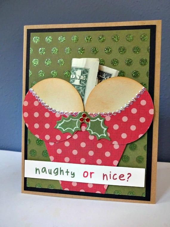 Unique Christmas Cards.Christmas Naughty Or Nice Card Money Holder For Men Unique