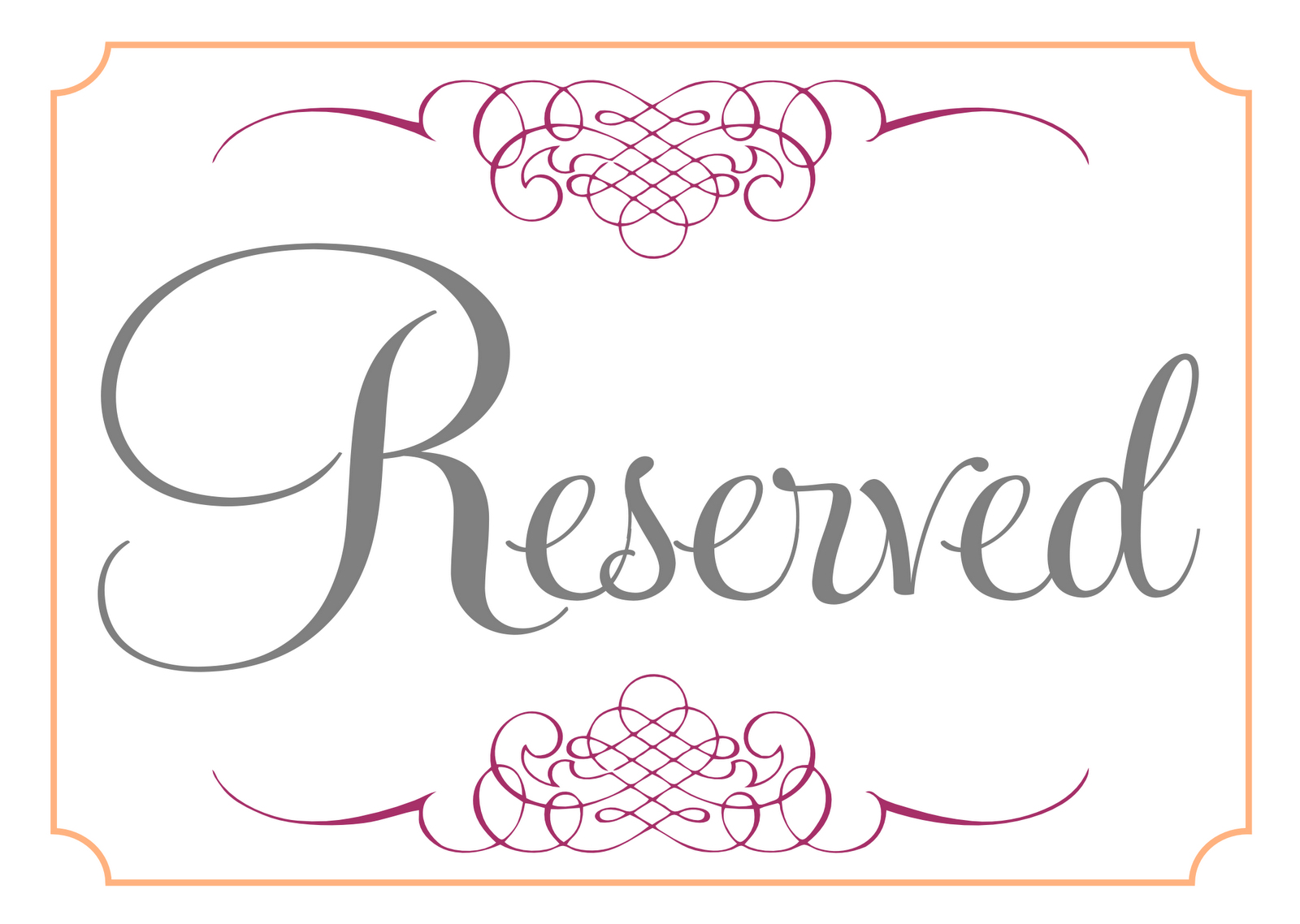 Reserved signs posted by sarahg labels mr and mrs for Reserved seating signs template