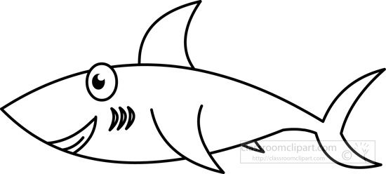 Fish outline classroom. Shark black and white