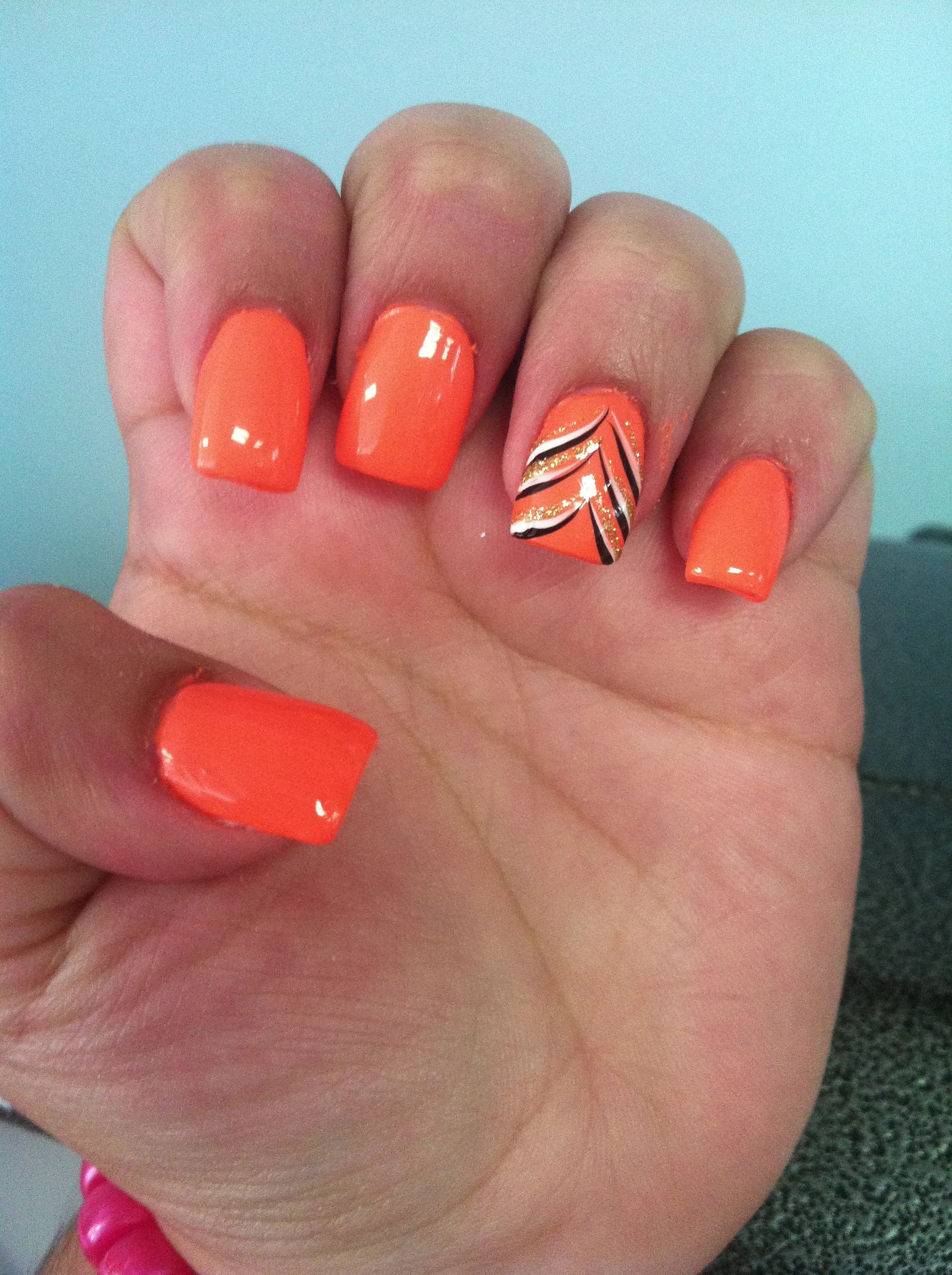 nice bright orange nails with another simple but cool design | nails ...
