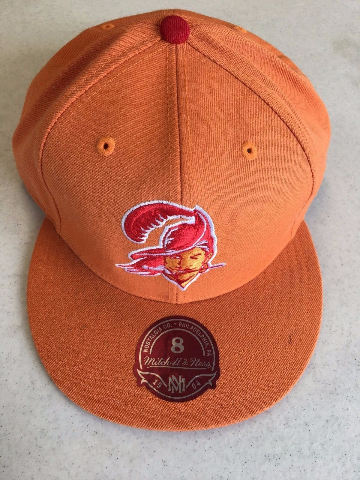 RETRO MITCHELL AND NESS TAMPA BAY BUCCANEERS ORANGE FLAT BRIM FITTED ... 99f892fb3dd
