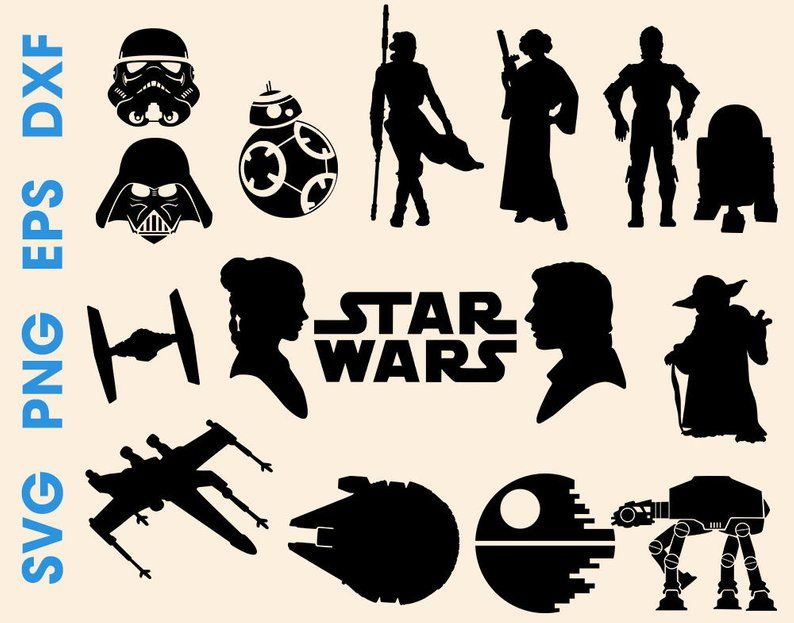 Wars Silhouette Svg Star Silhouette Files Svg Eps Dxf Cuttable Etsy Star Wars Silhouette Star Silhouette Star Wars Stencil