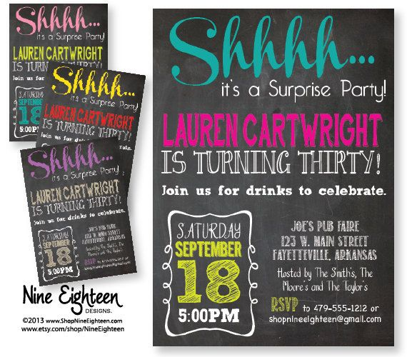 Surprise birthday party invitation adult custom by nineeighteen surprise birthday party invitation adult custom by nineeighteen 1200 filmwisefo Gallery