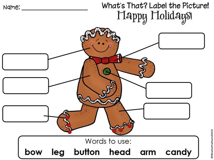 008 Label the Gingerbread Man FREEBIE! Kids LOVE to label