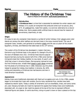 The History Of The Christmas Tree Reading Passage Christmas Reading Passages Reading Passages Nonfiction Reading Passages