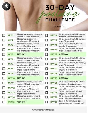 30 Day Posture Challenge. More   Gym   Pinterest   30th, Exercises ...