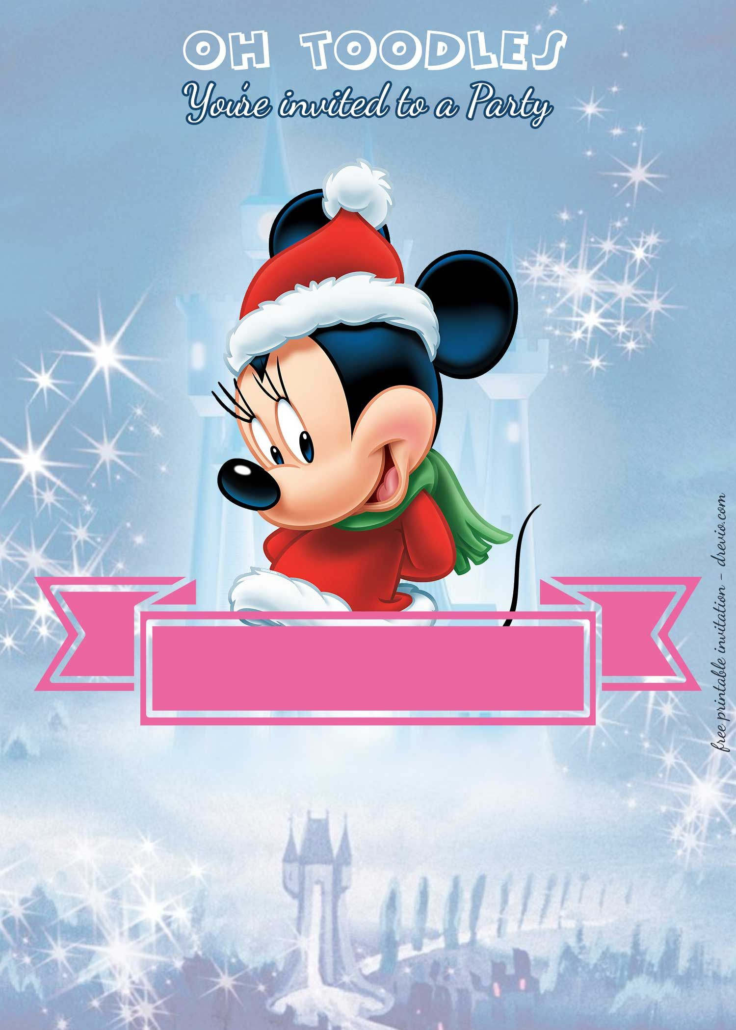 FREE Printable Minnie Mouse Royal Birthday Invitation