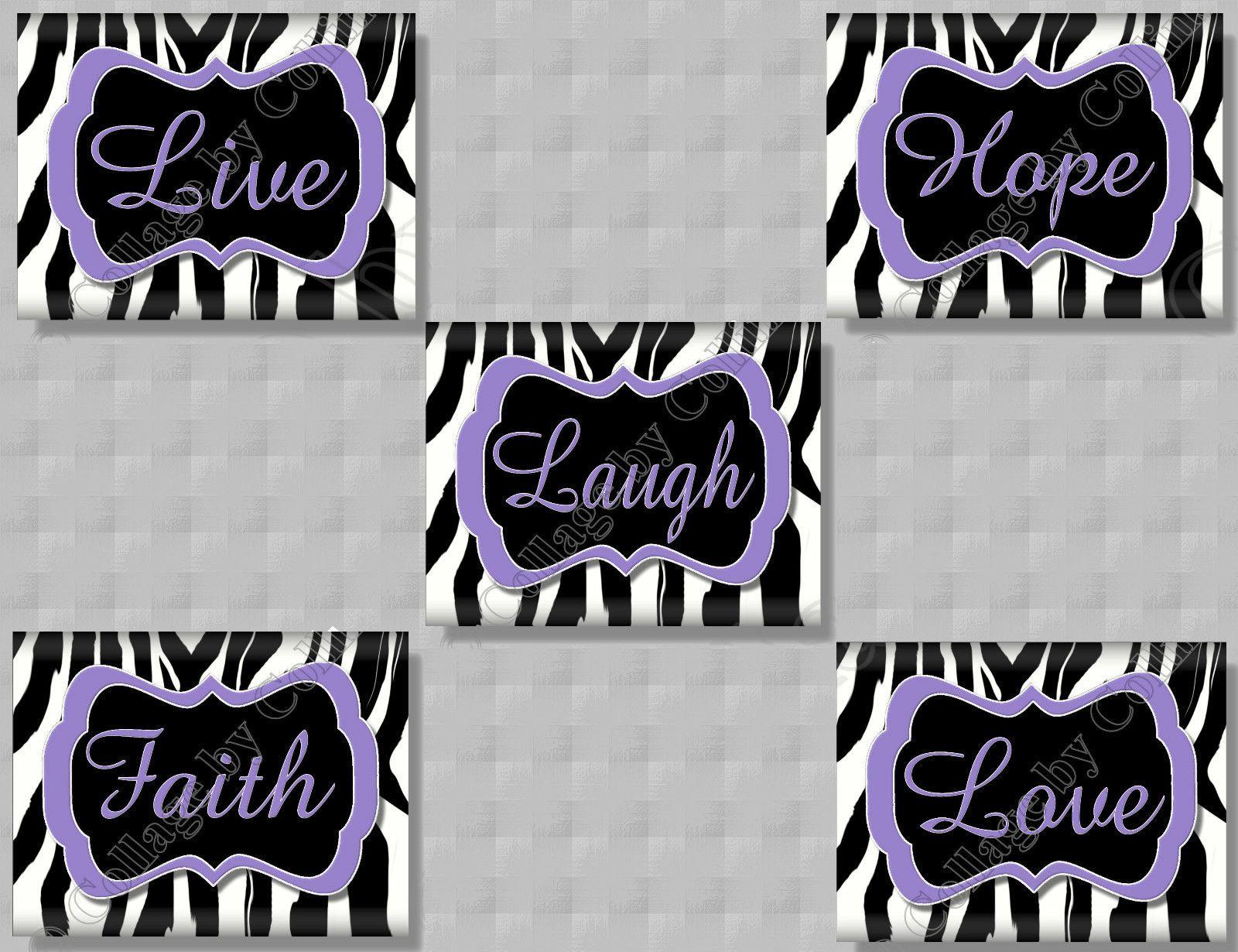 Zebra wall decor bedroom - 5 Purple Zebra Print Faith Hope Live Love Laugh Quote Art Girls Room Wall Decor