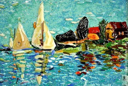 Картина из стекла `Паруса лодка в Арджантейле`