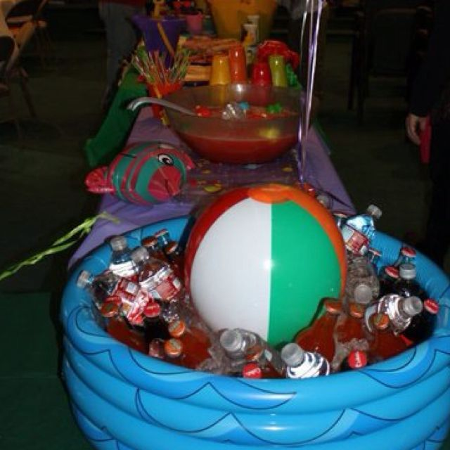 Pool Themed Bathroom: Blow Up Baby Pool And Beach Ball To Ice Down The Drinks