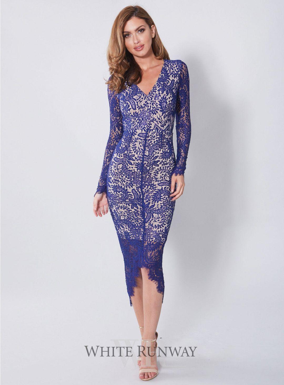 Cameron Dress Long Sleeve Blue Lace Evening Dress By Elle Zeitoune
