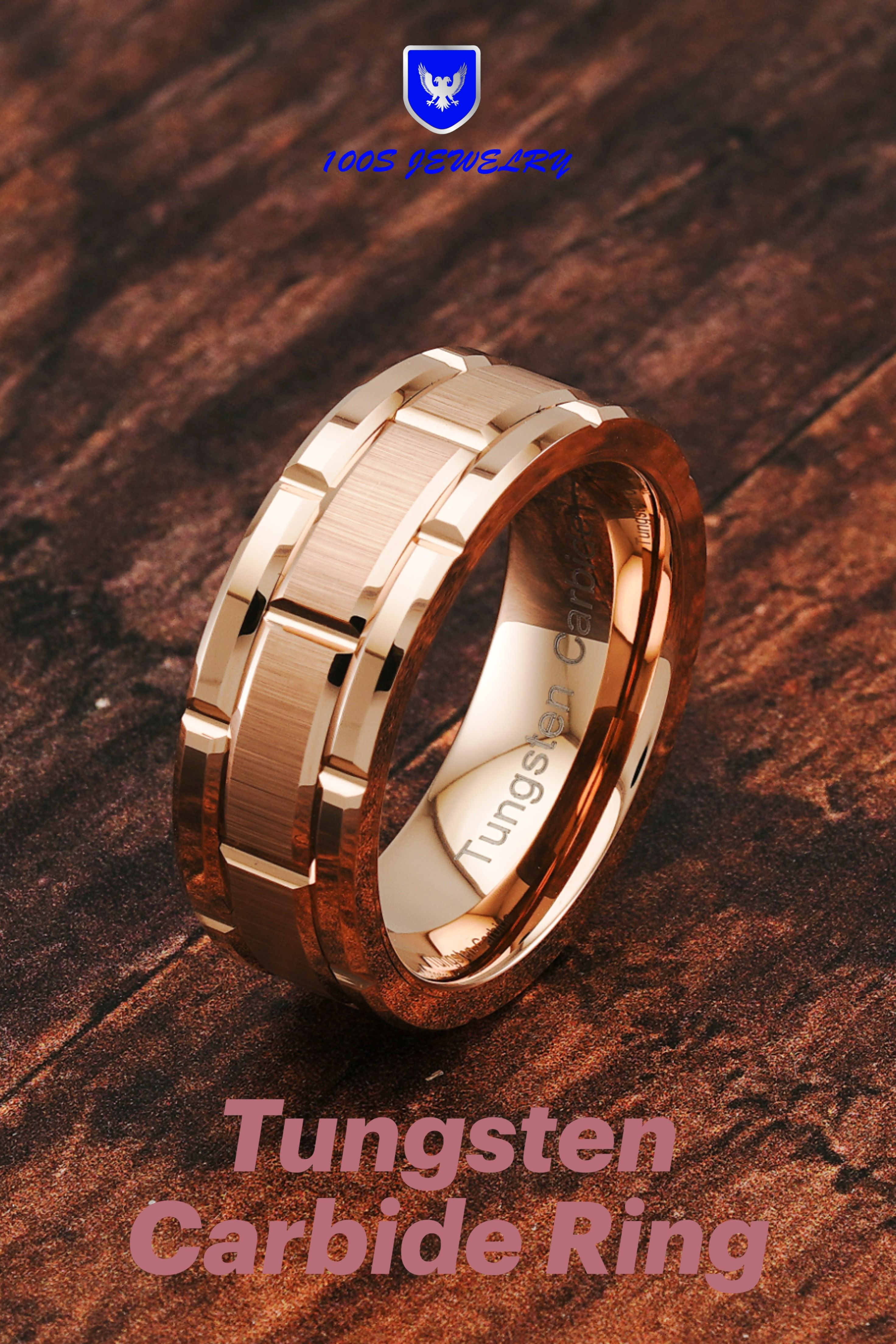 Tungsten Carbide Rings for Mens Wedding Band Rose Gold