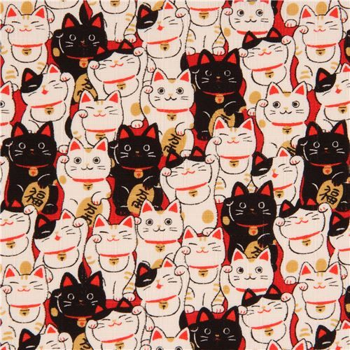 Nice Black White Fortune Lucky Cat Laminate Fabric From Japan 2