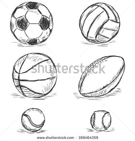 Vector Sketch Illustration Sport Balls Football Volleyball Basketball Rugby Tennis Baseball Sports Balls Sports Drawings Sport Illustration