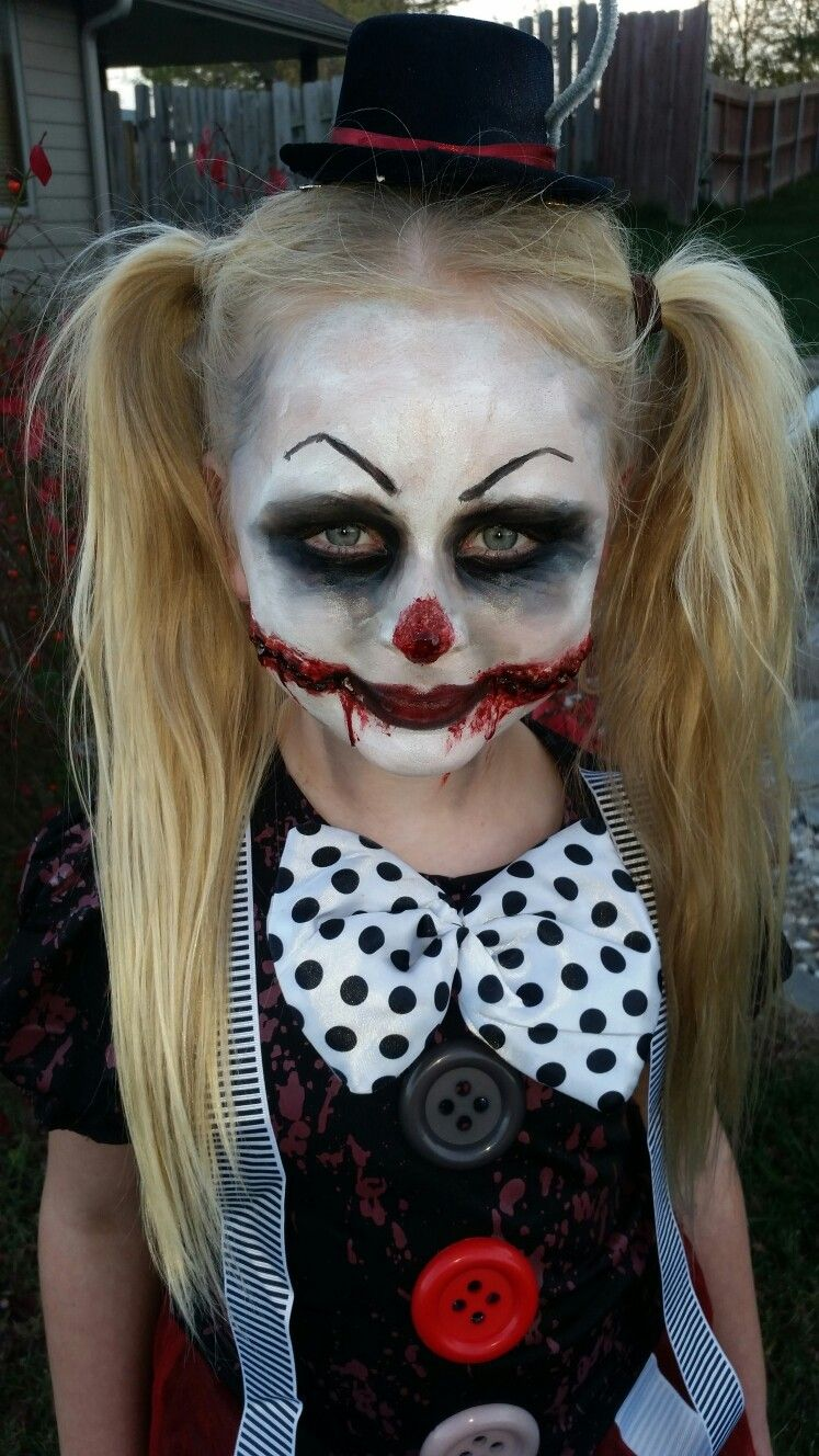 Little Girl Creepy Clown Makeup Halloween Makeup For Kids Creepy Halloween Costumes Scary Clown Makeup