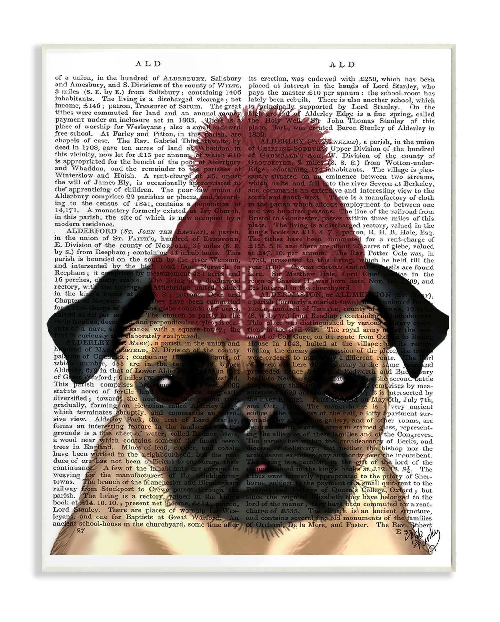 Snug Pug  by Fab Funky Graphic Art Plaque.   099a9388afd8