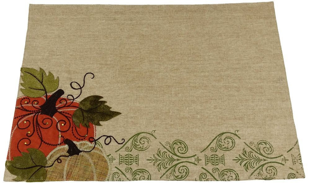 Pumpkin Embroidered Polyester with Suede Accents Placemat