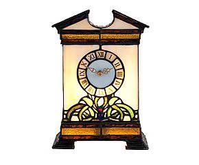 Lampada/orologio stile Tiffany in vetro e metallo Clock - H 31 cm