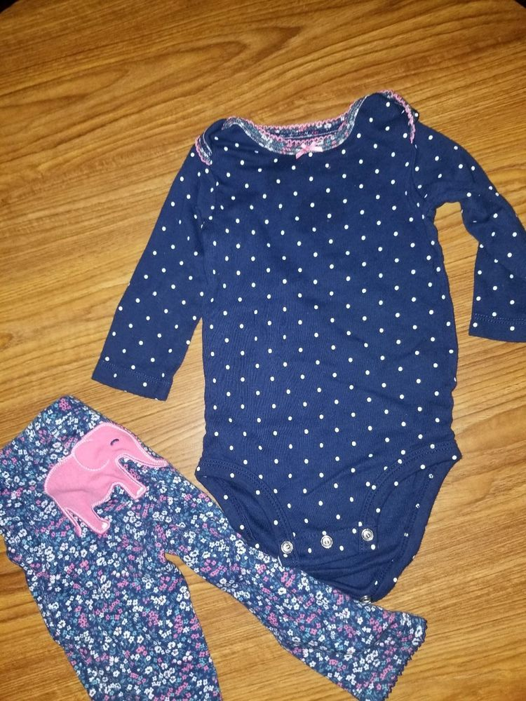 81059946a22d Carters Baby Girls long sleeved body suit And Leggings Elephant size ...